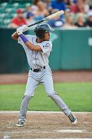 Cristopher Navarro (7) of the Grand Junction Rockies bats against the Ogden Raptors at Lindquist Field on July 25, 2018 in Ogden, Utah. The Rockies defeated the Raptors 4-0. (Stephen Smith/Four Seam Images)