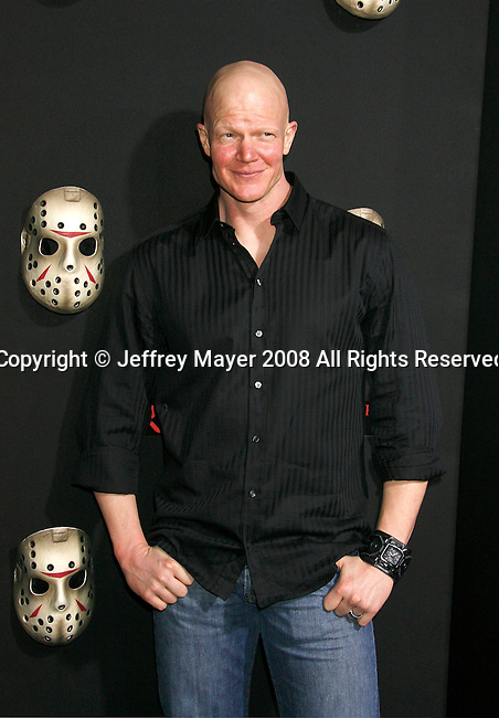 """HOLLYWOOD, CA. - February 09: Actor Derek Mears  arrives at the Los Angeles premiere of """"Friday The 13th"""" at Grauman's Chinese Theater on February 9, 2009 in Hollywood, California."""