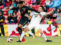 COLLEGE PARK, MD - NOVEMBER 03: Marques Antoine #4 of Maryland in action against Christian Pulselli #16 of Michigan during a game between Michigan and Maryland at Ludwig Field on November 03, 2019 in College Park, Maryland.