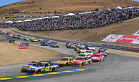Jun. 21, 2009; Sonoma, CA, USA; NASCAR Sprint Cup Series driver Jimmie Johnson (48) during the SaveMart 350 at Infineon Raceway. Mandatory Credit: Mark J. Rebilas-