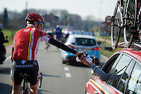 Jelle Wallays (BEL/Lotto-Soudal) returning to the teamcar<br /> <br /> 71st Omloop Het Nieuwsblad 2016
