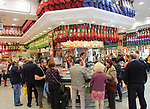 Customers inside a Museo del Jamon chain store shop in Madrid city centre, Spain