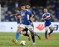 1st August 2020; Stadio San Paolo, Naples, Campania, Italy; Serie A Football, Napoli versus Lazio; Giovanni Di Lorenzo of Napoli holds off Luis Alberto of SS Lazio to get his shot away