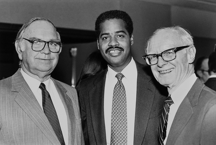 Rep. Joe Moakley, D-Mass., Rep. Alan Wheat, D-Mo., and Ernest Hubbell (supporter of DSG and friend of Wheat from Kansas city, Missouri) on Nov. 18, 1989. (Photo by Maureen Keating/CQ Roll Call)