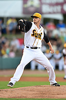 Jacksonville Suns pitcher Justin Nicolino (22) delvers a pitch during game three of the Southern League Championship Series against the Chattanooga Lookouts on September 12, 2014 at Bragan Field in Jacksonville, Florida.  Jacksonville defeated Chattanooga 6-1 to sweep three games to none.  (Mike Janes/Four Seam Images)