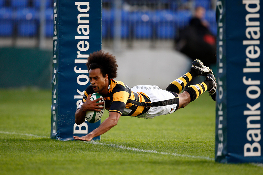 Photo: Richard Lane/Richard Lane Photography. Leinster v London Wasps. Pre Season Friendly. 20/08/2010. Wasps' Richard Haughton scores a try.