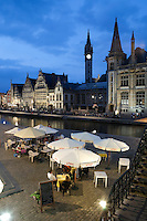 Belgium, Oost Vlaanderen, Ghent: Evening restaurant scene along the Graslei
