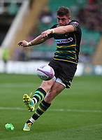 Northampton Saints's James Grayson converts a late try in the second half<br /> <br /> Photographer Stephen White/CameraSport<br /> <br /> European Rugby Challenge Cup - Northampton Saints v Clermont Auvergne - Saturday 13th October 2018 - Franklin's Gardens - Northampton<br /> <br /> World Copyright © 2018 CameraSport. All rights reserved. 43 Linden Ave. Countesthorpe. Leicester. England. LE8 5PG - Tel: +44 (0) 116 277 4147 - admin@camerasport.com - www.camerasport.com