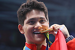 Joseph Schooling (SIN), <br /> AUGUST 12, 2016 - Swimming : <br /> Men's 100m Butterfly Medal Ceremony <br /> at Olympic Aquatics Stadium <br /> during the Rio 2016 Olympic Games in Rio de Janeiro, Brazil. <br /> (Photo by Yohei Osada/AFLO SPORT)