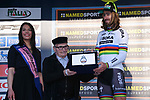 World Champion Peter Sagan (SVK) Bora-Hansgrohe wins the cambativity prize on the podium at the end of Stage 7 of the 2017 Tirreno Adriatico a 10km Individual Time Trial at San Benedetto del Tronto, Italy. 14th March 2017.<br /> Picture: La Presse/Gian Mattia D'Alberto | Cyclefile<br /> <br /> <br /> All photos usage must carry mandatory copyright credit (&copy; Cyclefile | La Presse)