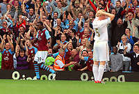 Saturday 15 September 2012<br /> Pictured: Aston Villa goalscorer Christian Benteke (L) celebrating while Alan Tate of Swansea (R) holds his head with his hands dejected.<br /> Re: Barclay's Premier League, Aston Villa v Swansea City FC at Villa Park, West Midlands, UK.