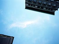Looking high above between two buildings
