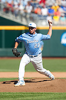 North Carolina Tar Heels pitcher Tate Parrish #27 pitches during Game 3 of the 2013 Men's College World Series between the North Carolina State Wolfpack and North Carolina Tar Heels at TD Ameritrade Park on June 16, 2013 in Omaha, Nebraska. The Wolfpack defeated the Tar Heels 8-1. (Brace Hemmelgarn/Four Seam Images)