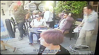 BNPS.co.uk (01202 558833)<br /> Pic: ChrisHillyard/BNPS<br /> <br /> ***Please Use Full Byline***<br /> <br /> CCTV from the Ship Inn catches the shock as the carriage careers forward.<br /> <br /> Holiday makers rushed for cover after a runaway horse and carriage careered through the seaside town and crashed into a car.<br /> <br /> The horse-drawn cart was being driven through the packed streets of Swanage, Dorset, when crowds spooked the horse and it bolted.<br /> <br /> The 20-year-old at the reins of the out-of-control cart was thrown 30ft in the collision with an unsuspecting driver's car.<br /> <br /> Both the horse and the four-wheeled cart were thrown onto their sides, narrowly missing passing bystanders.<br /> <br /> Incredibly the cart driver, the female car driver and the horse all escaped unscathed.<br /> <br /> Emergency services rushed to the scene at Swanage High Street where they treated both drivers for shock.<br /> <br /> It took eight firefighters to right the 110-year-old carriage.<br /> <br /> The shaken horse was recovered by members of the public.