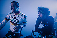 German National Champion Marcus Burghardt (DEU/BORA-hansgrohe) &amp; Daniel Oss (ITA/BORA-hansgrohe) at the pre-race team presentation in the legendary Kuipke Velodrome<br /> <br /> Omloop Het Nieuwsblad 2018<br /> Gent &rsaquo; Meerbeke: 196km (BELGIUM)