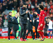 9th February 2019, Anfield, Liverpool, England; EPL Premier League football, Liverpool versus AFC Bournemouth; Liverpool manager Jurgen Klopp congratulates Mohamed Salah after the final whistle
