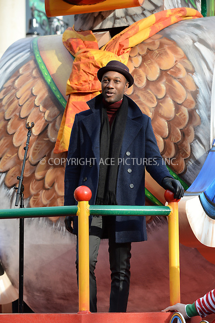 www.acepixs.com<br /> <br /> November 24 2016, New York City<br /> <br /> Aloe Blacc made an appearance at the 90th Annual Macy's Thanksgiving Day Parade on November 24, 2016 in New York City.<br /> <br /> By Line: Kristin Callahan/ACE Pictures<br /> <br /> <br /> ACE Pictures Inc<br /> Tel: 6467670430<br /> Email: info@acepixs.com<br /> www.acepixs.com