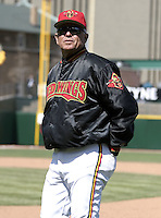April 11, 2004:  Coach Bobby Cuellar of the Rochester Red Wings, Triple-A International League affiliate of the Minnesota Twins, during a game at Frontier Field in Rochester, NY.  Photo by:  Mike Janes/Four Seam Images