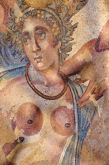 Naked torso of the Metamorphosis of Ambrosia from the apse of the Triclinium room no 33 - Roman mosaics at the Villa Romana del Casale which containis the richest, largest and most complex collection of Roman mosaics in the world. Constructed  in the first quarter of the 4th century AD. Sicily, Italy. A UNESCO World Heritage Site.