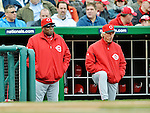 12 April 2012: Cincinnati Reds Manager Dusty Baker (left) watches his team play against the Washington Nationals along with his Bench Coach Chris Speier at Nationals Park in Washington, DC. The Nationals defeated the Reds 3-2 in 10 innings to take the first game of their 4-game series. Mandatory Credit: Ed Wolfstein Photo