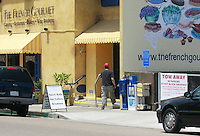 May 15 2008, Pacific Beach, San Diego, CA, USA:  A plain-clothes ICE agent enters the French Gourmet resturant on Turquoise Street after it was rraided earlier in the day. Eyewitnesses said that the street was closed for a block or two during the raid just before 8am.  Agents were seen to be moving in and out of the resturant during the day and even stopping people in the street and around the building.