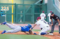 Tulsa Drillers vs NWA Naturals -  Blake Gailen of the Drillers nearly gets thrown out, as first baseman Samir Duenez nearly applies the tag for the out at Arvest Ballpark, Springdale, AR, Thursday, July 13, 2017,  © 2017 David Beach
