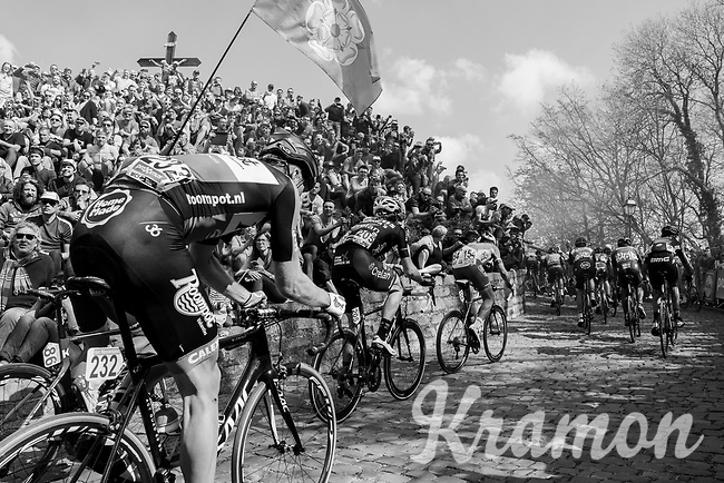 peloton up the infamous Muur van Geraardsbergen (1100m/7.6%) that is back in the parcours after a 5 year hiatus<br /> <br /> 101th Ronde Van Vlaanderen 2017 (1.UWT)<br /> 1day race: Antwerp &rsaquo; Oudenaarde - BEL (260km)