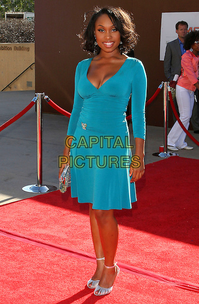 ANGELL CONWELL.2005 Soul Train Lady of Soul Awards - Arrivals held at the Pasadena Civic Center, Pasadena,  CA..September 7th, 2005.Photo credit: JW.full length blue dress turquoise .www.capitalpictures.com.sales@capitalpictures.com.© Capital Pictures.