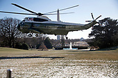 Marine One, with United States President Donald J. Trump aboard departs the White House in Washington, DC to take the President to Camp David for a weekend of meetings with bicameral Republican leaders on Friday, January 5, 2018.<br /> Credit: Ron Sachs / CNP