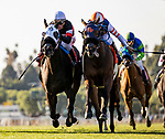 DEC 28: Mirth with Mike Smith (right) battles back to defeat  Tiny Tina and Tiago Pierra to win the Robert Frankel Stakes at Santa Anita Park in Arcadia, California on December 28, 2019. Evers/Eclipse Sportswire/CSM