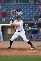 Ryan Peurifoy (3) of the West Virginia Power at bat against the Lexington Legends at Appalachian Power Park on June 7, 2018 in Charleston, West Virginia. The Power defeated the Legends 5-1. (Brian Westerholt/Four Seam Images)