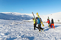 Pictured: A group of skiers climbs the mountain at Storey Arms in the Brecon Beacons, Wales, UK. Monday 11 December 2017<br /> Re: Freezing temperatures, snow and ice has affected parts of the UK.