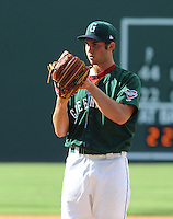 Pitcher Dylan Chavez (12) of the Greenville Drive in a game against the Asheville Tourists on Sunday, July 22, 2012, at Fluor Field at the West End in Greenville, South Carolina. Chavez was a 14th-round pick out of the University of Mississippi by the Boston Red Sox in the 2012 First-Year Player Draft. (Tom Priddy/Four Seam Images)
