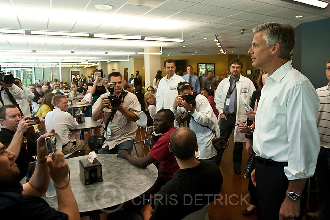 Photo by Chris Detrick | The Salt Lake Tribune .Former Utah Gov. Jon Huntsman Jr. talks with employees while touring Nelson Laboratories Tuesday June 28, 2011.