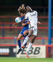 Ethan Ampadu of Chelsea U23 & Shaun Okojie of Aldershot Town during the pre season friendly match between Aldershot Town and Chelsea U23 at the EBB Stadium, Aldershot, England on 19 July 2017. Photo by Andy Rowland / PRiME Media Images.