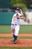 Montgomery Biscuits pitcher Bryce Stowell (27) delivers a pitch during a game against the Mississippi Braves on April 22, 2014 at Riverwalk Stadium in Montgomery, Alabama.  Mississippi defeated Montgomery 6-2.  (Mike Janes/Four Seam Images)