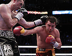 Quebec  Canada - APRIL 25: David Lemieux of Canada(R) and Marco Antonio Rubio of Mexico(L)  in action during a WBC middleweight title eliminator  Fight at Bell Centre,  April 8, 2011 on Montreal, Quebec Canada. (Photo by Isabela Zapata /LatinContent/Getty Images)..