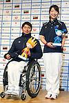 (L to R) Taiki Morii (JPN), Shoko Ota (JPN), DECEMBER 24, 2013 - : Sochi Paralympics Japanese team first-order announcement press conference at Nihonbashi Hamacho F Tower Plaza, Tokyo, Japan. (Photo by AFLO SPORT)