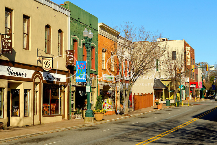 Photography of downtown Concord, NC, the largest city in Cabarrus County. Geographically located at 35°2416N 80°362W (35.404340, -80.600474), Concord is considered by many to be a suburb of Charlotte, NC. Even during the recent economic downturn, Concord continued to have a vibrant downtown and historic district. Photo is part of a photographic series of images featuring Concord, NC, by Charlotte-based photographer Patrick Schneider..