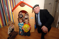 Deputy Jackie Healy-Rae pictured with Tristan Carroll, Cian O'Connor, Nia Sweeney, Karl Mccarthy and Ronan Klok  at the Bebe Creche 1st birthday party last Friday. The creche on the Countess Road employees 10 people in  a state of the art premises.<br />
