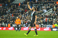 Andy Carroll of Newcastle United celebrates with the Newcastle fans during the Premier League match between Newcastle United and Manchester United at St. James's Park, Newcastle, England on 6 October 2019. Photo by James  Gill / PRiME Media Images.