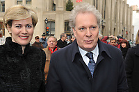 montreal (qc) Canada - dec 5<br />  2009,-  National funeral of Quebec filmmaker Gilles Carle held at Notre-Dame Basilica.<br /> In picture : Jean Charest, Quebec Premier and wife Micheline