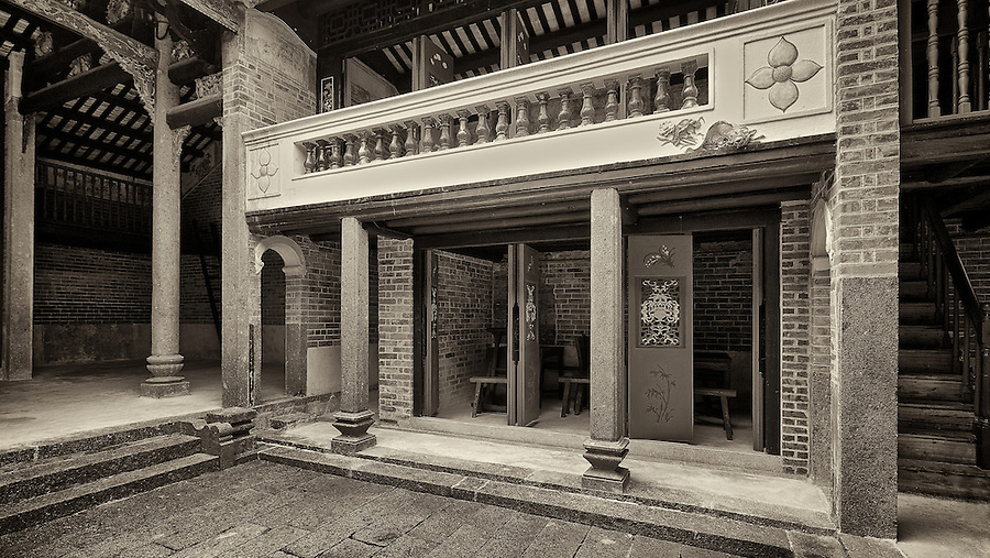Internal courtyard of the Chik Kwai Study Hall in Pat Heung.