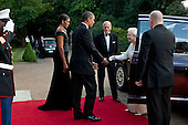President Barack Obama and First Lady Michelle Obama receive Queen Elizabeth II and Prince Philip, Duke of Edinburgh, prior to a dinner in the Queen's honor at Winfield House in London, England, May 25, 2011. .Mandatory Credit: Pete Souza - White House via CNP