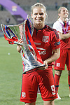 Olympique Lyonnais' Eugenie Le Sommer celebrates the victory in the UEFA Women's Champions League 2015/2016 Final match.May 26,2016. (ALTERPHOTOS/Acero)