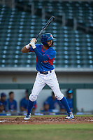 AZL Cubs right fielder Jose Alejandro Gonzalez (20) starts down the first base line during an Arizona League game against the AZL Brewers at Sloan Park on June 29, 2018 in Mesa, Arizona. The AZL Cubs 1 defeated the AZL Brewers 7-1. (Zachary Lucy/Four Seam Images)