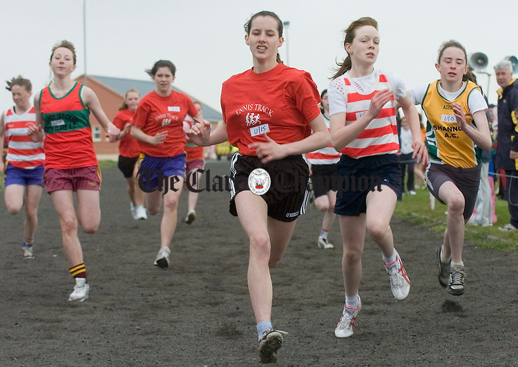 Laura Daly beats Suzanne Kelly to the line in the U-15 100m sprint at the Clare Track and Field championships at Mullagh. Photograph by John Kelly.