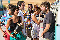 "Spanish actors Silvia Alonso, Salva Reina,Megan Montanier, David Guapo, Eduardo Casanova and Bore Buika during the filming of the movie "" Senor, dame paciencia"" directed by Alvaro Diaz. September 06, 2016. (ALTERPHOTOS/Rodrigo Jimenez) NORTEPHOTO.COM"