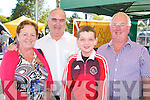 ENJOYING: Martha O'Sullivan, Derry O'Shea, Sean Óg Geary and Sean Geary enjoying the many food stands at the Tralee Harvest food fair last Saturday afternoon at the Mount Brandon Hotel car park.