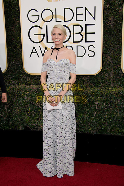 Nominated for BEST PERFORMANCE BY AN ACTRESS IN A SUPPORTING ROLE IN A MOTION PICTURE for her role in &quot;Manchester by the Sea,&quot; actress Michelle Williams attends the 74th Annual Golden Globes Awards at the Beverly Hilton in Beverly Hills, CA on Sunday, January 8, 2017.<br /> CAP/HFPA<br /> &copy;HFPA/ Capital Pictures